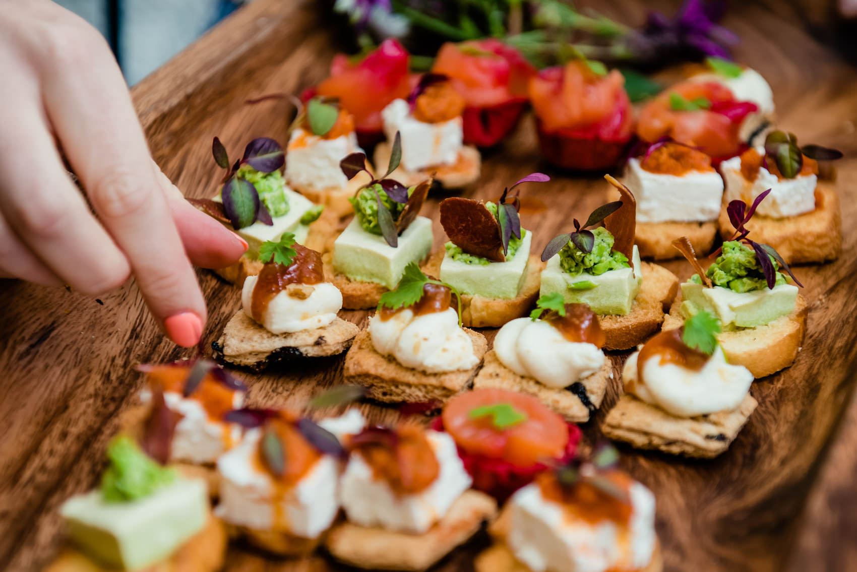 friends for dinner canapés